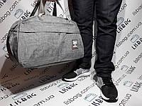 Спортивная дорожная  сумка из текстиля, с водоотталкивающего материала серая
