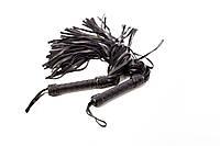 Плеть черная многохвостая  ручная работа натуральная кожа БДСМ  Флоггер Классика 50 хвост 50 см Soft