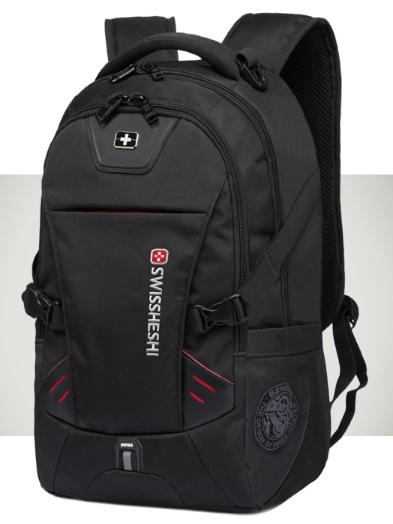 """Рюкзак чорний в швейцарському стилі великий 17"""" Swrgtaiti з кодовим замком"""