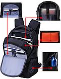"""Рюкзак чорний в швейцарському стилі великий 17"""" Swrgtaiti з кодовим замком, фото 5"""