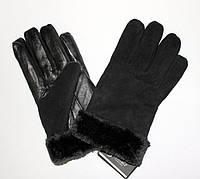Замшево-кожаные мужские перчатки на меху оптом