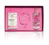 """Подарочный набор """"Rose """" Розовая вода 100мл, мыло  Lady's Joy, духи Rose Berry Болгарская роза Карлово"""