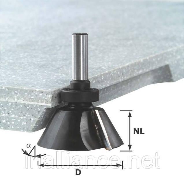 Фреза для снятия фаски с режущей кромкой внизу и опорным подшипником HW D66,5 /30°SS S12 Festool 492667, фото 1