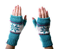 Варежки-рукавички без пальцев (митенки) BLUE