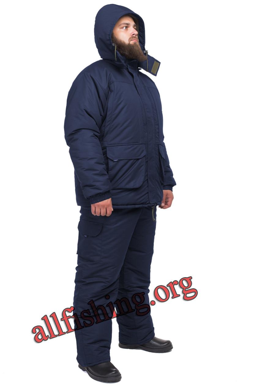 Зимний костюм на рыбалку -40 ТАСЛАН на мембране однотонный (Синий)