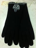 Перчатки трикотажные утеплённые сенсорные с меховой опушкой