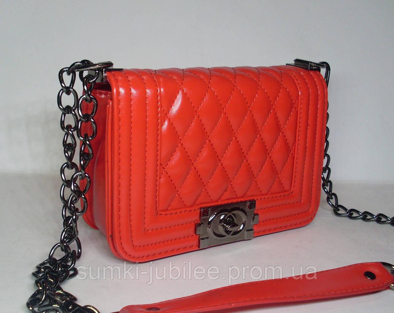 072e7fea43c1 Женский маленкий клатч Шанель кораллового цвета - Интернет-магазин