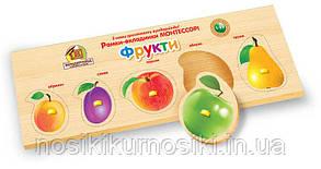 Деревянные игрушки рамки вкладыши Монтессори с ручками Фрукты узк