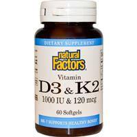 Витамин Д3 и К2, Vitamin D3 & K2, Natural Factors, 60 гелевых капсул
