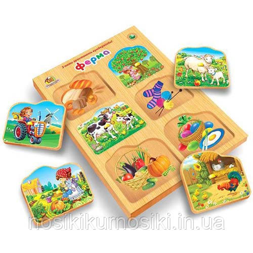 Деревянные игрушки рамки вкладыши Монтессори Ферма