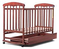 Кроватка для новорожденных Наталка с ящиком ольха темная