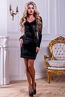 Красивое велюровое платье с кружевом 42-46 размера, фото 1