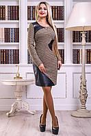 Теплое платье букле с кожаными вставками 44-50 размера, фото 1