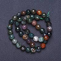 Бусины натуральный камень Яшма разноцветная граненный шарик на нитке L- 37см d-8мм