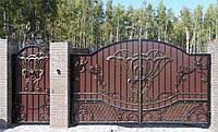 Кованые распашные ворота с калиткой, код: 01064, фото 1