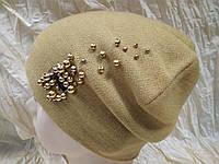 Шапочка украшенная бусинками цвет жёлтый
