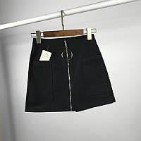 Женская юбка шорты с молнией черная