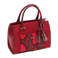 Замшевая сумка-бочонок с отделкой под питона CM3279 Бордовый