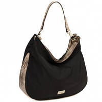 Нейлоновая сумка хобо со вставками под змеиную кожу CM3113 Черный