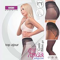 Женские колготки CONTE™. Колготы классические с ажурными трусиками Bikini 40d Конте