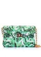 Кожаная сумочка-клатч POOLPARTY с цепочкой Зеленый palm-clutch
