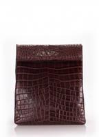 Кожаная сумка-клатч POOLPARTY Lunchbox Коричневый aligator-lunchbox-brown