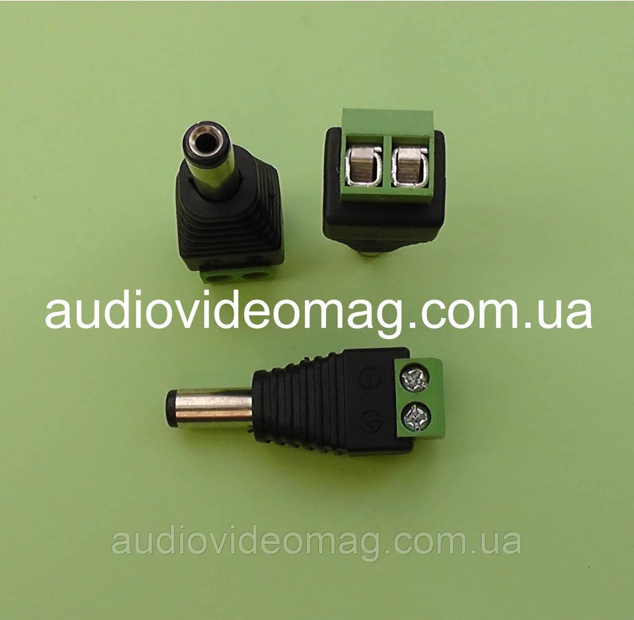 Штекер живлення 5.5-2.1 на кабель, з клемної колодкою