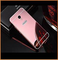 Металлический бампер Epik с акриловой вставкой с зеркальным покрытием для Meizu M5s Rose Gold