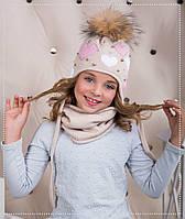 Детская шапка-ушанка для девочки Сердечки