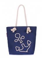 Коттоновая сумка с якорем POOLPARTY Синий anchor-darkblue-none