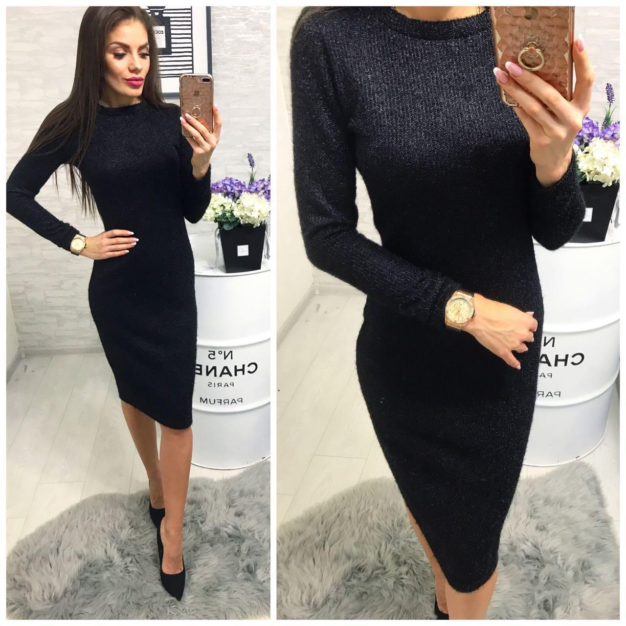 Платье (800/2) ангора софт люрекс черный