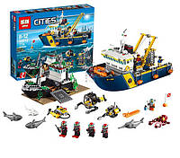 Конструктор Lepin 02012 аналог Lego City 60095 Корабль исследователей морских глубин , 774 дет.
