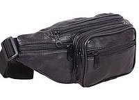 Кожаная сумка на пояс барсетка поясная мужская через плечо бананка унисекс кожа Премиум