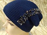Женская шапочка украшенная камнями цвет  т\синий