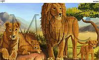 Схема для частичной вышивки бисером  Симейство львов