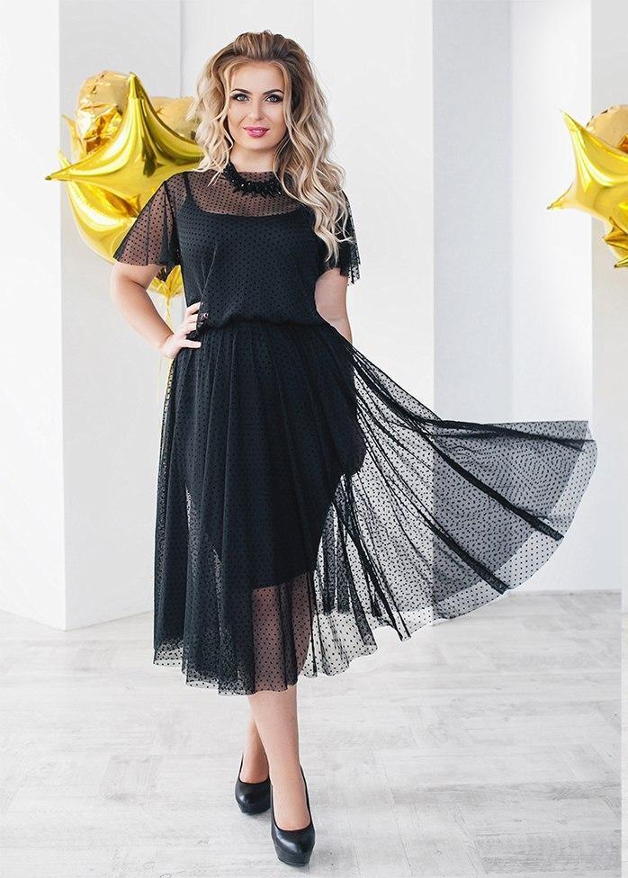 Т2074 Платье сетка\трикотаж  размеры 48-54