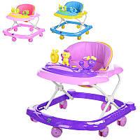 Детские Ходунки M 3466, 67-57-53см, колеса 8шт, 6,5см, муз, свет, 3 цвета, на бат-ке, в кульке, 67-57-20см