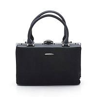 Каркасная женская сумка Gernas натуральная замша черная