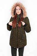 Куртка парка женская М4 с опушкой хаки