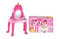 Детский музыкальный макияжный столик с зеркалом, трюмо 008-38 свет, музыка, на батарейке