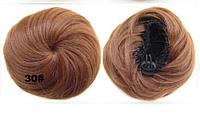 Накладная гулька, накладной пучок из волос, шиньон из синтетических волос, цвет №30 рыжий