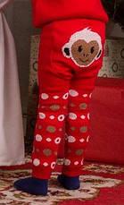 """Детские теплые гамаши (лосины, леггинсы) под памперс """"Веселые попки - Литл Обезьянка"""" девочки - цвет красный,, фото 3"""