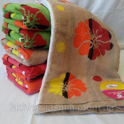 Яркие банные  полотенца в цветах  Размер 140*70.