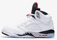 Мужские кроссовки Nike Air Jordan 5 White/Universiti Red