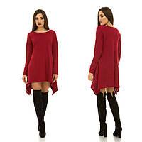 Красивое модное платье-туника из ангоры с разрезами по бокам