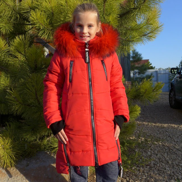 Детскее зимове пальто Маргарет(червоний), 34-42 розміри на ріст 128 - 156