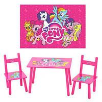 Стол и 2 стула М 1522 Розовые пони