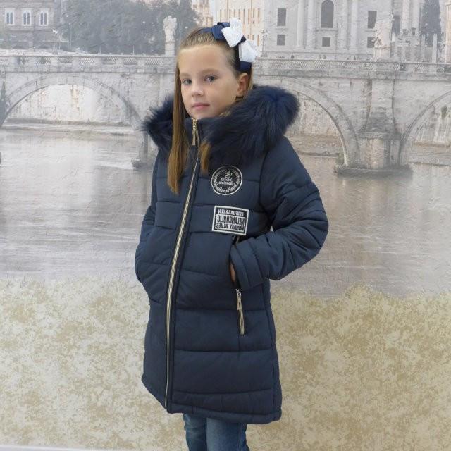 Детскее зимнее пальто Бренд(синий), 34-42 размеры на рост 128 - 156