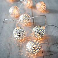"""Новогодняя гирлянда """"Шарики"""" 10 LED, Белый телый свет, Диаметр 2,4 см, На пальчиковых батарейках"""