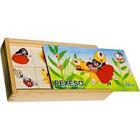"""Деревянная развивающая игра Мемо """"Маковая куколка"""" для детей от 2 лет (21х13х4 см, 32 картинки-фишки) ТМ Bino 13181, фото 1"""